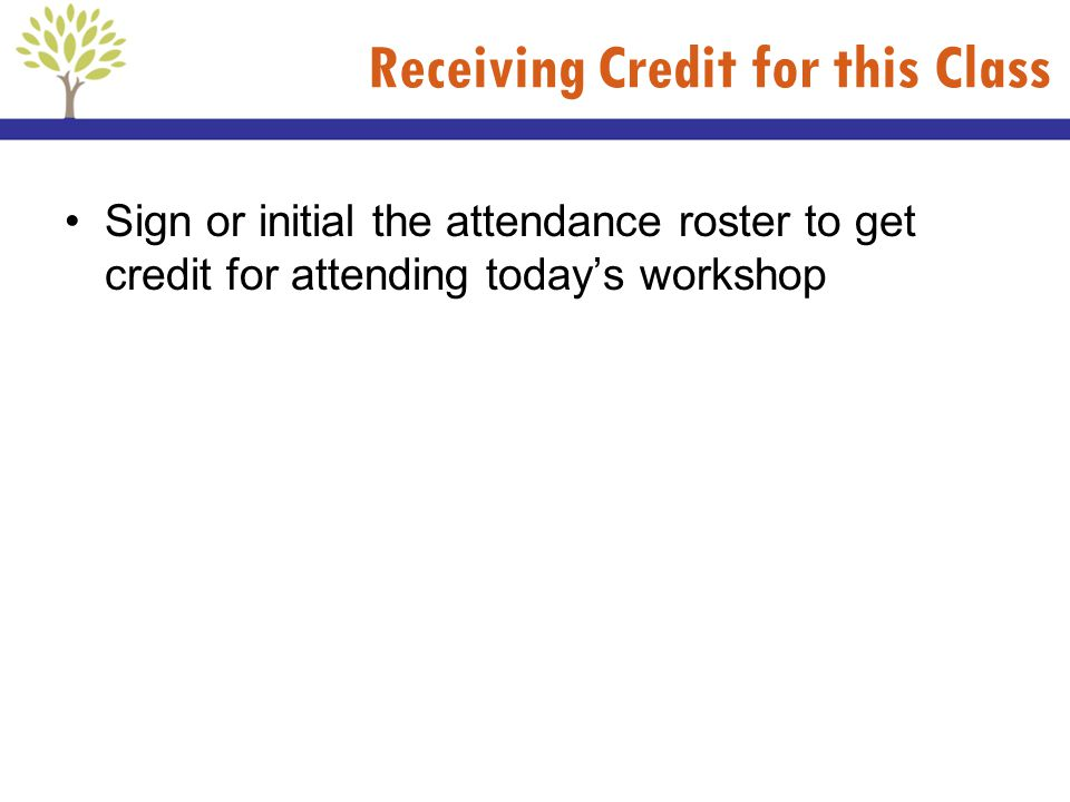 Receiving Credit for this Class