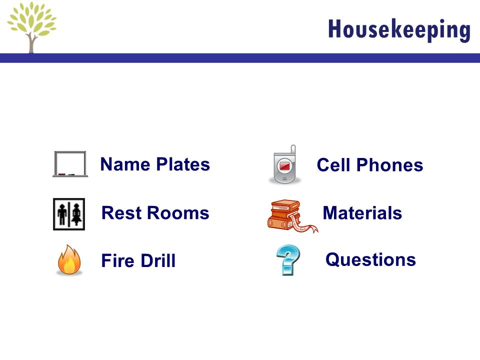 Housekeeping Name Plates Cell Phones Rest Rooms Materials Fire Drill