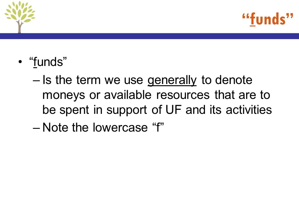 funds funds Is the term we use generally to denote moneys or available resources that are to be spent in support of UF and its activities.