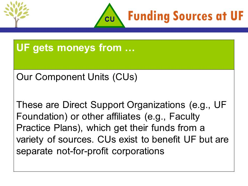 Funding Sources at UF UF gets moneys from … Our Component Units (CUs)