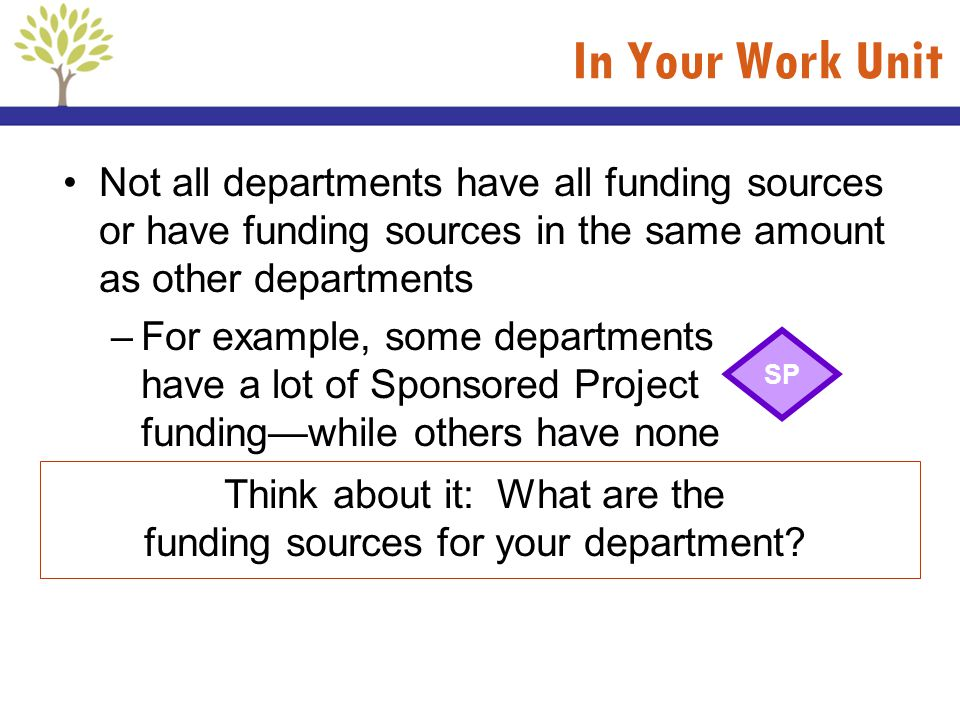 Think about it: What are the funding sources for your department