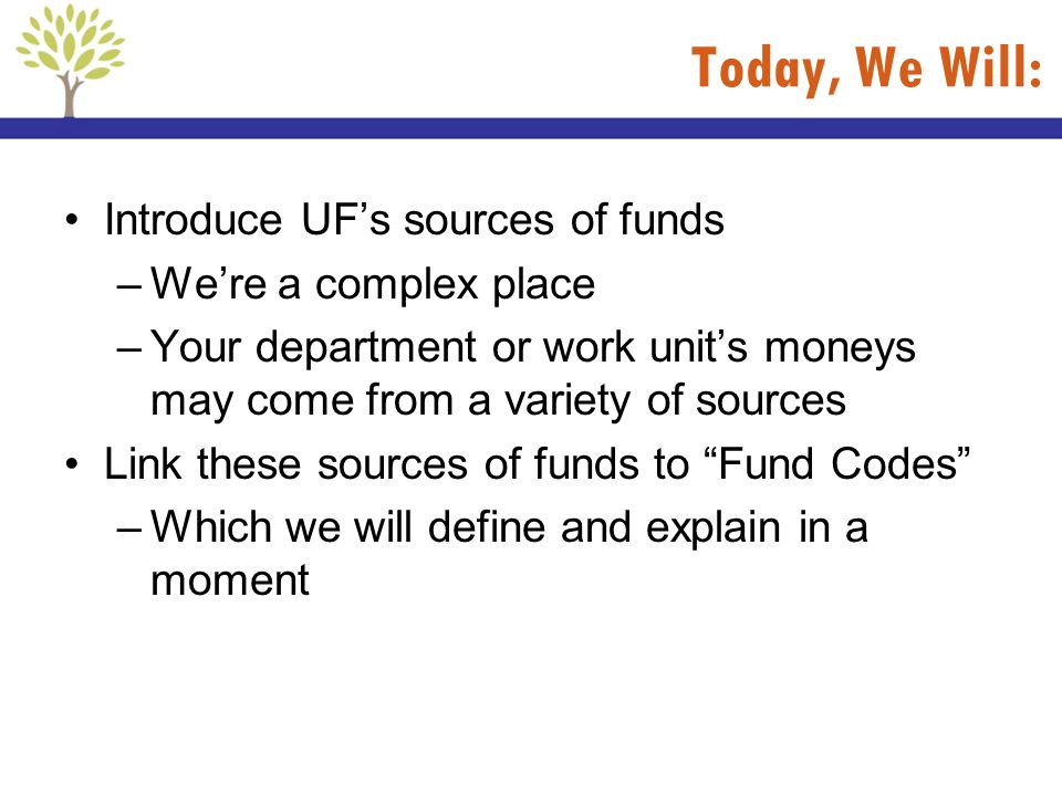 Today, We Will: Introduce UF's sources of funds We're a complex place