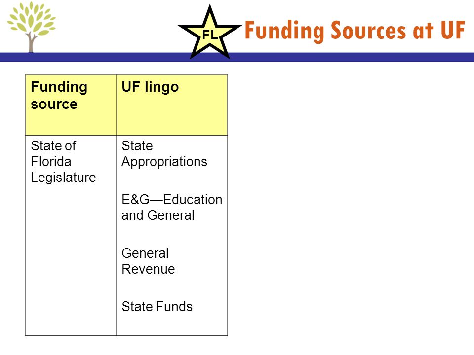 Funding Sources at UF Funding source UF lingo FL