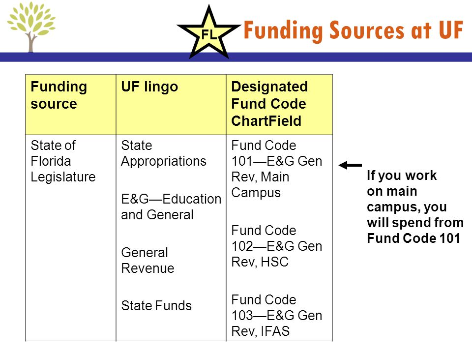 Funding Sources at UF Funding source UF lingo