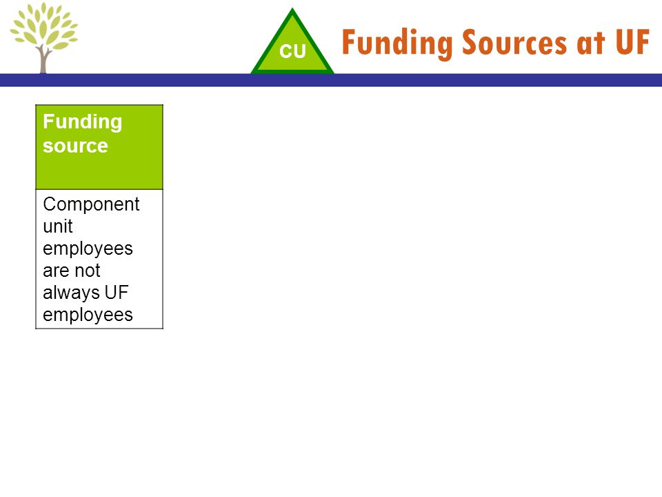 Funding Sources at UF Funding source CU