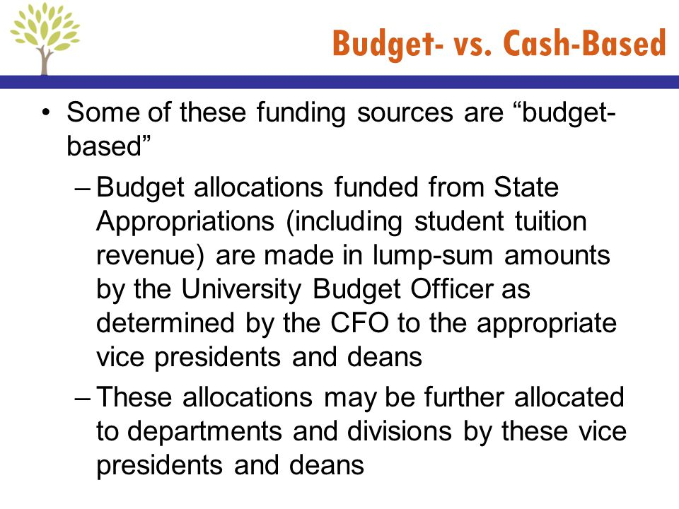 Budget- vs. Cash-Based Some of these funding sources are budget-based