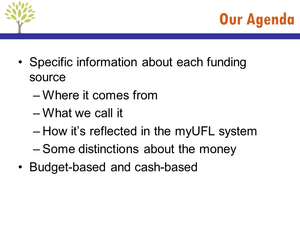 Our Agenda Specific information about each funding source