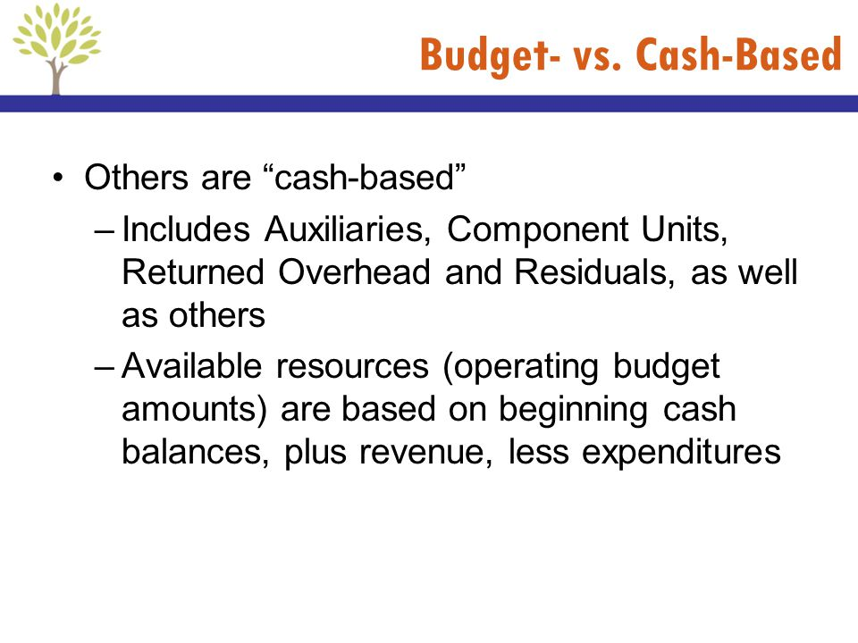 Budget- vs. Cash-Based Others are cash-based