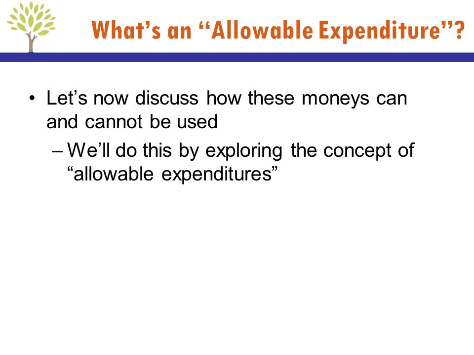 What's an Allowable Expenditure