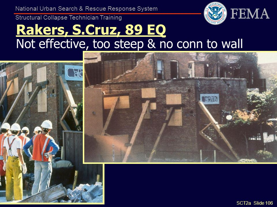 Rakers, S.Cruz, 89 EQ Not effective, too steep & no conn to wall