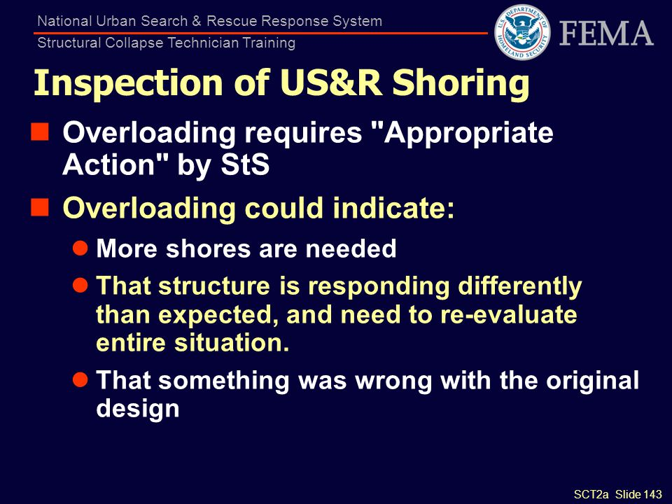 Inspection of US&R Shoring