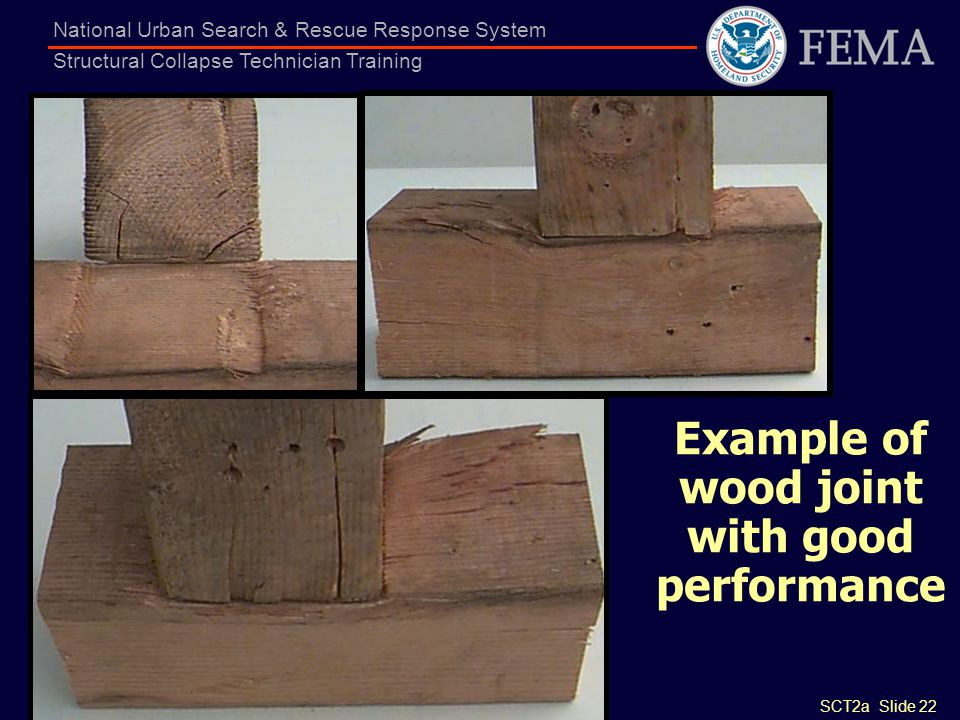 Example of wood joint with good performance