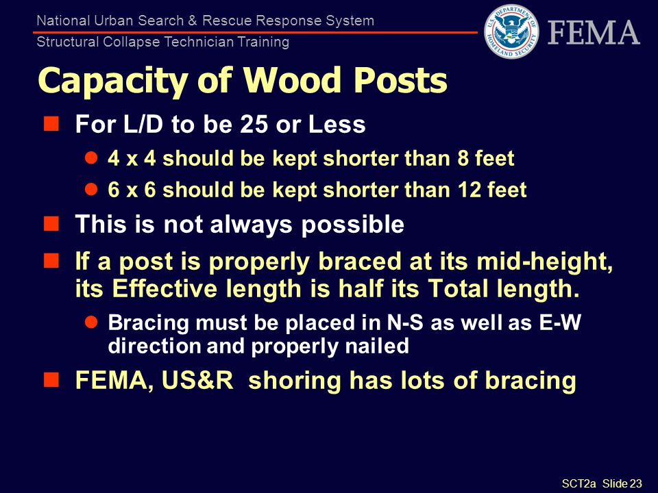 Capacity of Wood Posts For L/D to be 25 or Less