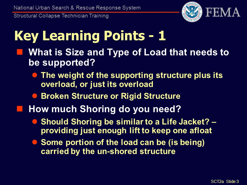 FEMA US&R Response System Structural Collapse Technician Training