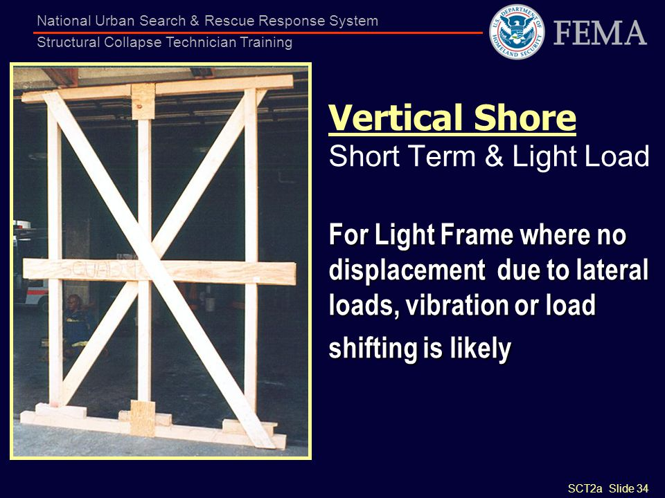Vertical Shore Short Term & Light Load For Light Frame where no displacement due to lateral loads, vibration or load shifting is likely
