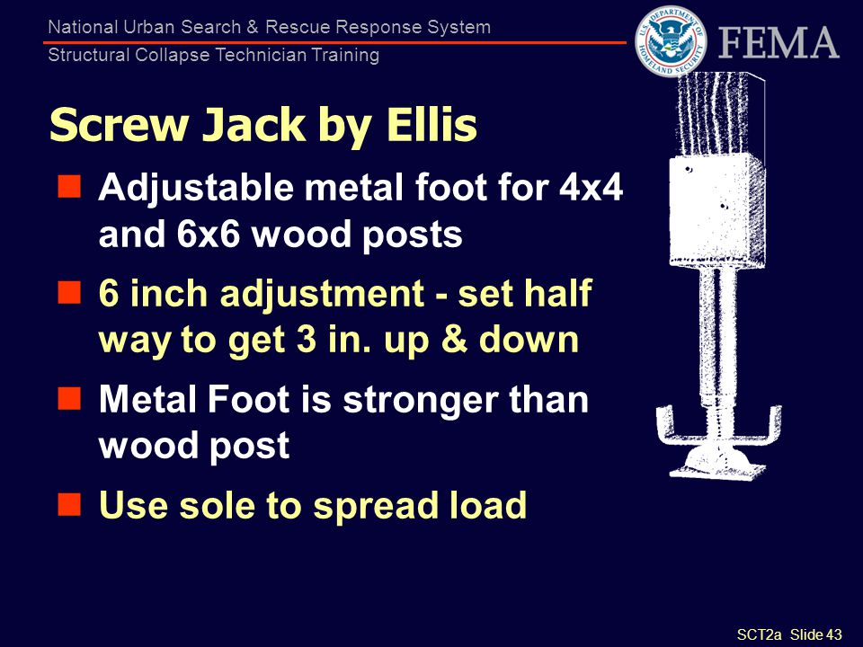 Screw Jack by Ellis Adjustable metal foot for 4x4 and 6x6 wood posts