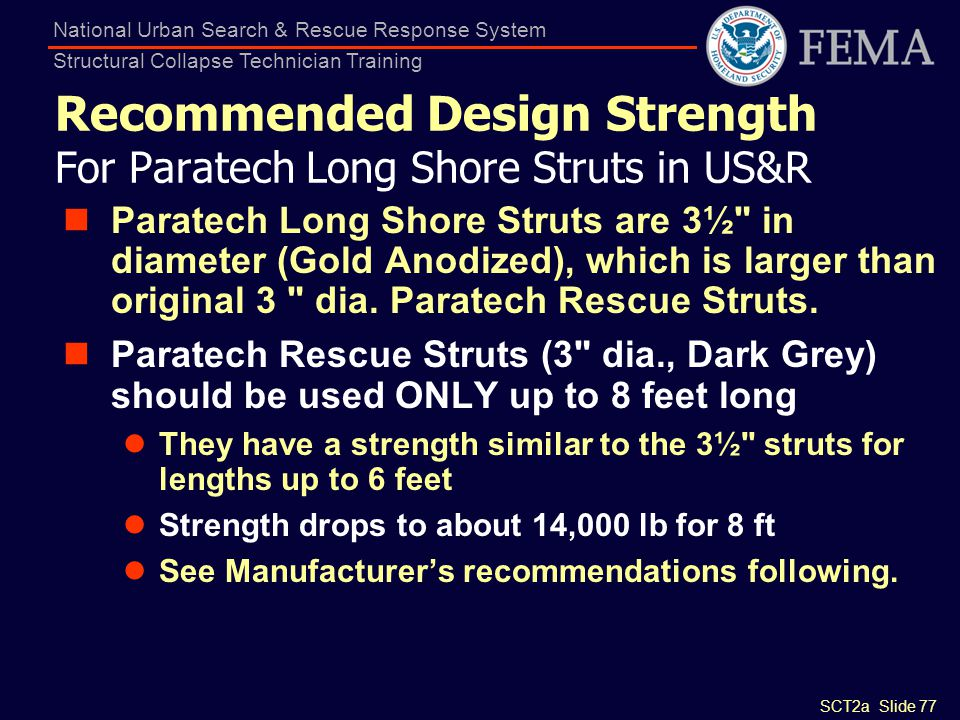 Recommended Design Strength For Paratech Long Shore Struts in US&R