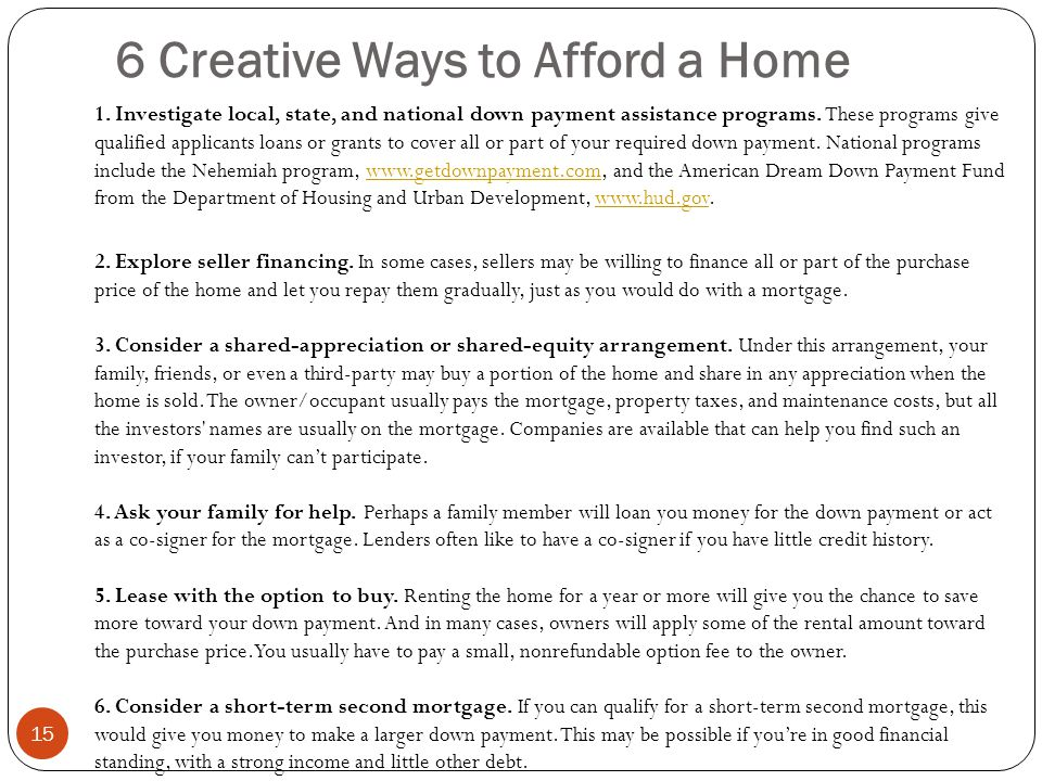 6 Creative Ways to Afford a Home