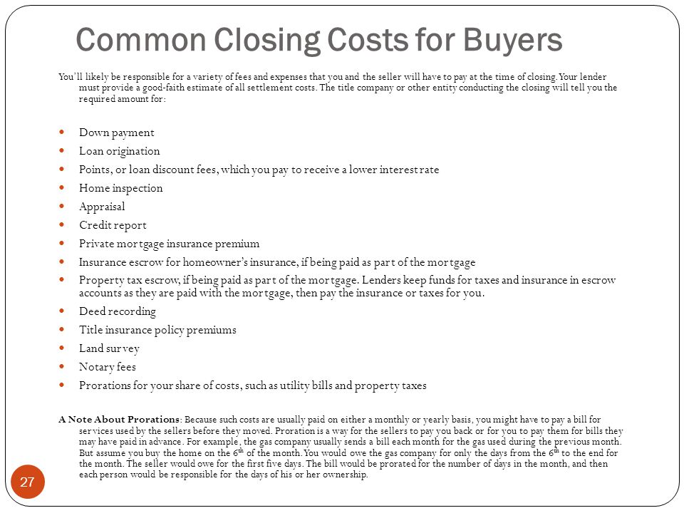 Common Closing Costs for Buyers