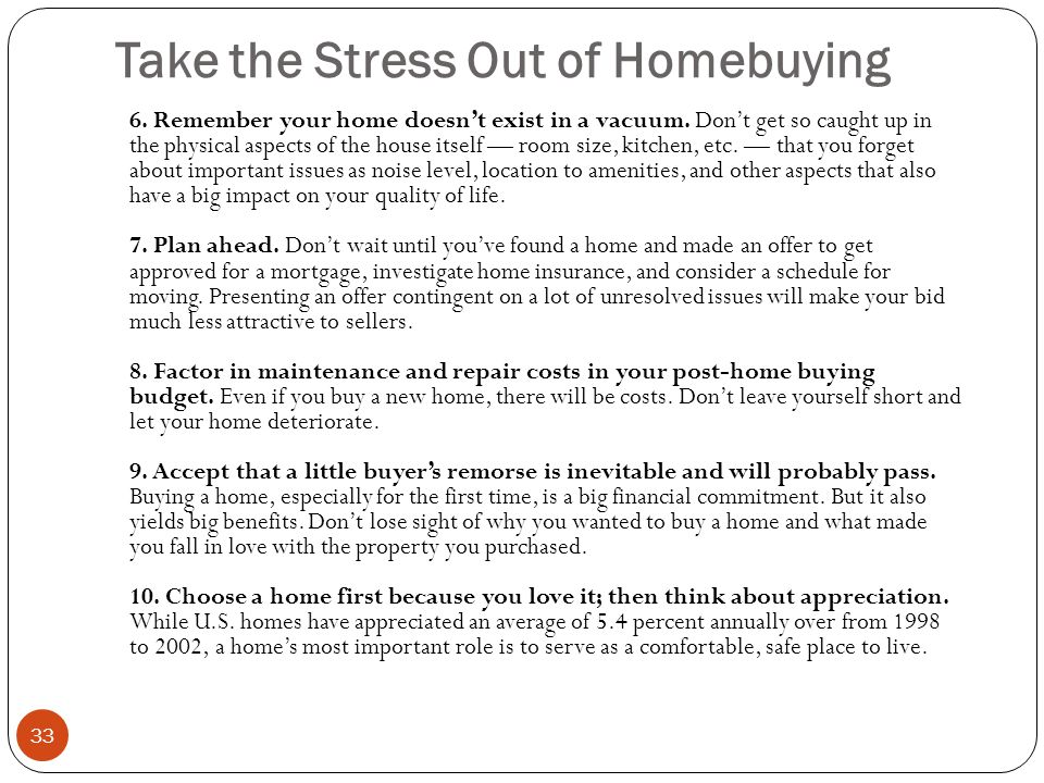Take the Stress Out of Homebuying