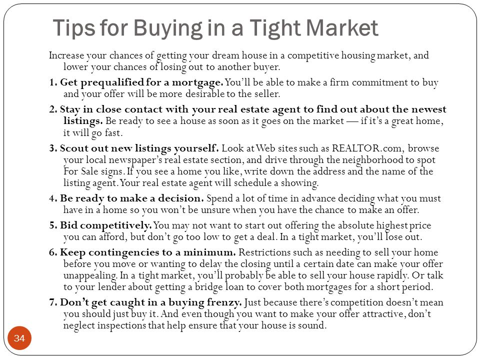 Tips for Buying in a Tight Market
