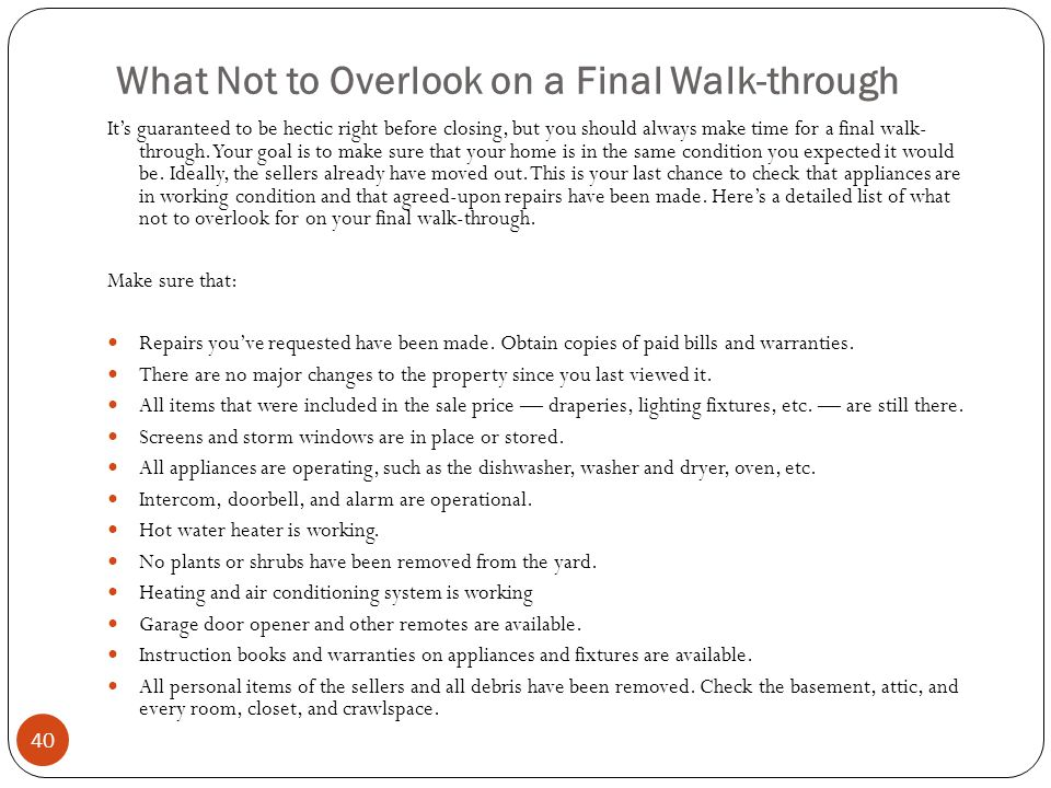 What Not to Overlook on a Final Walk-through