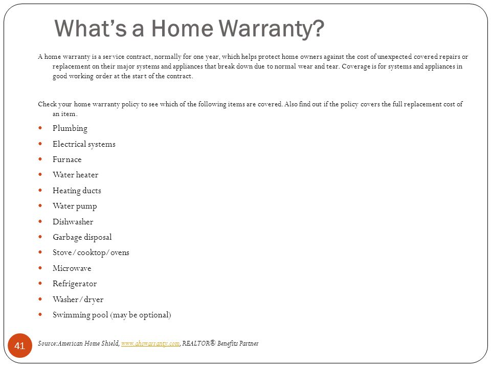 What's a Home Warranty Plumbing Electrical systems Furnace
