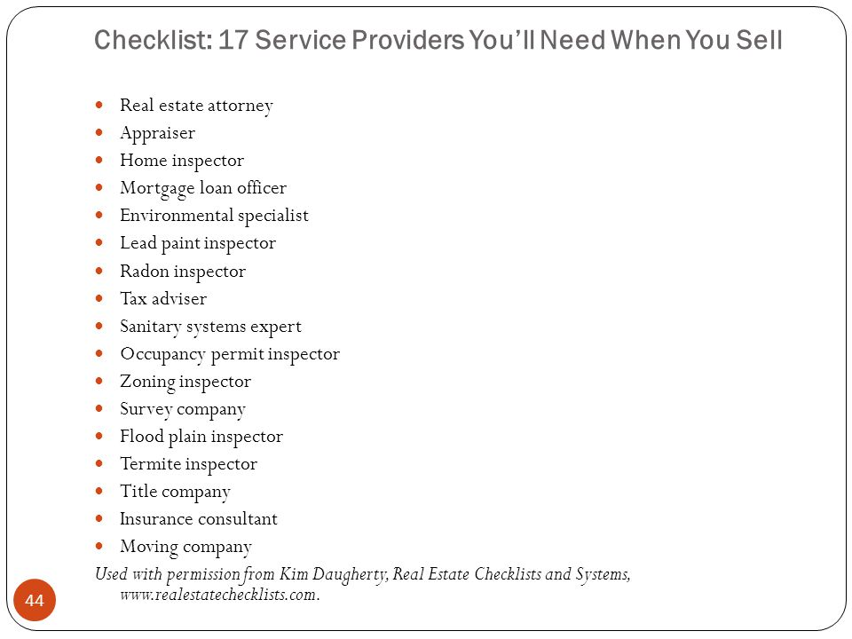 Checklist: 17 Service Providers You'll Need When You Sell