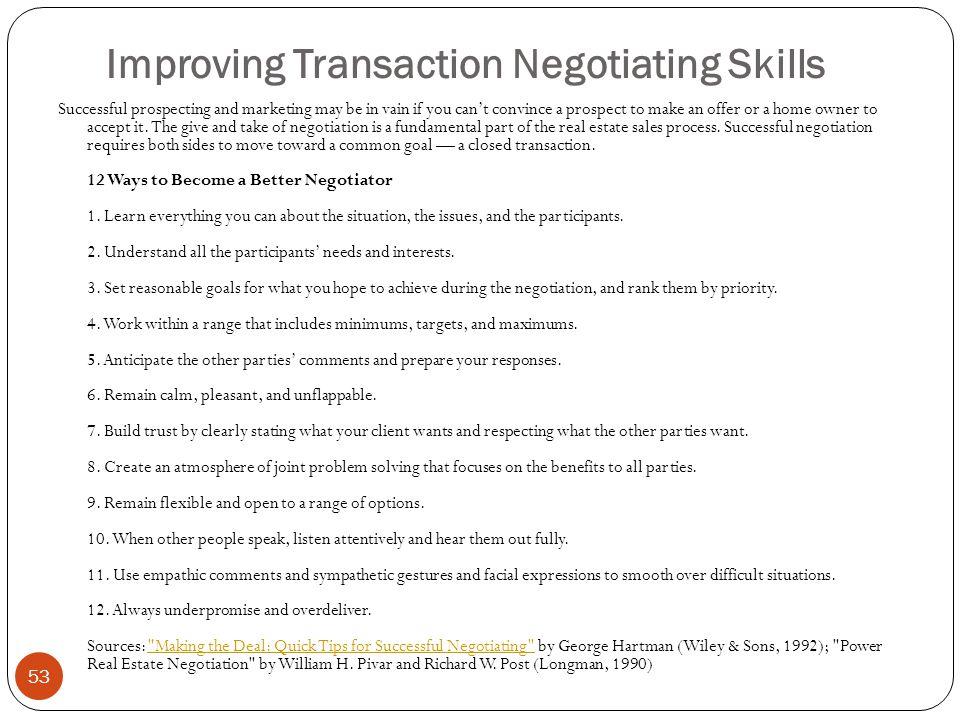 Improving Transaction Negotiating Skills