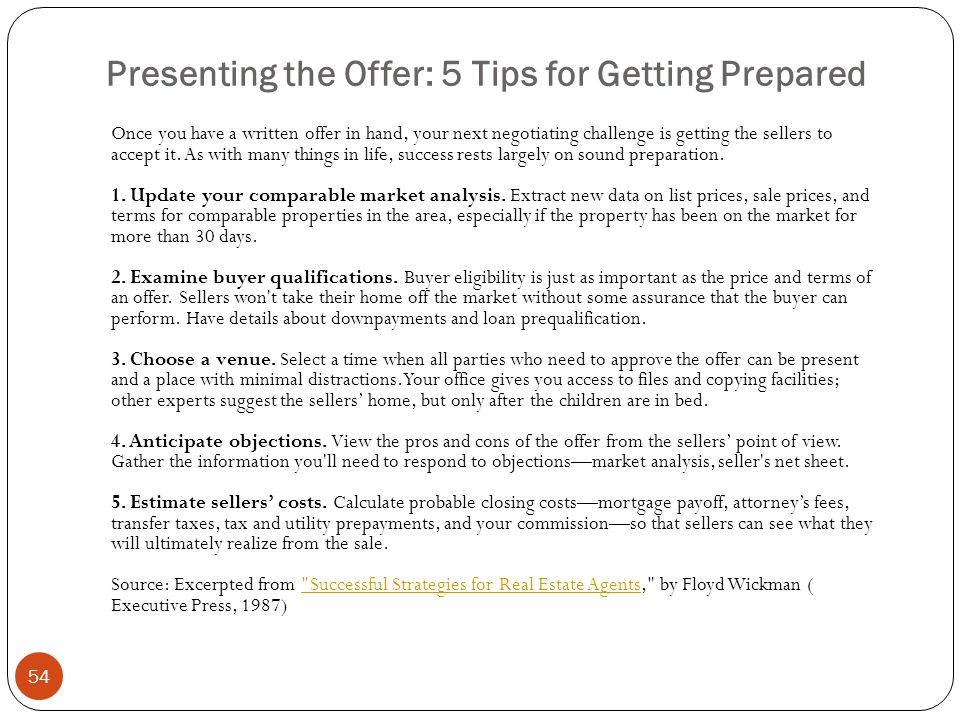 Presenting the Offer: 5 Tips for Getting Prepared
