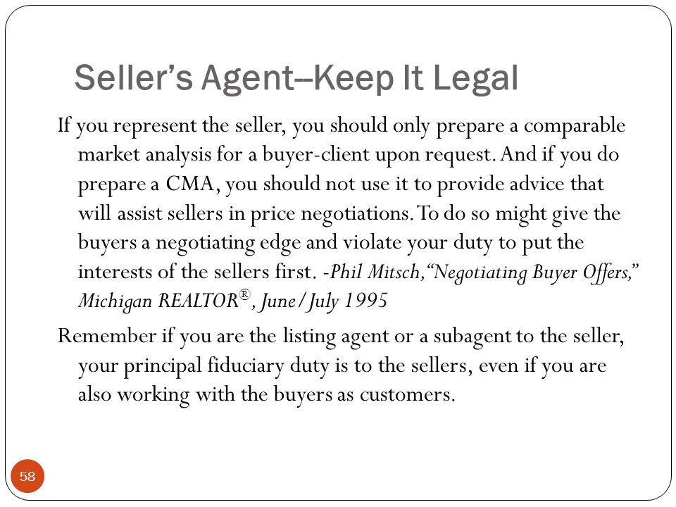 Seller's Agent--Keep It Legal