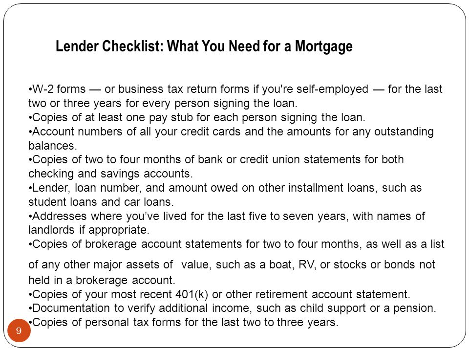 Lender Checklist: What You Need for a Mortgage