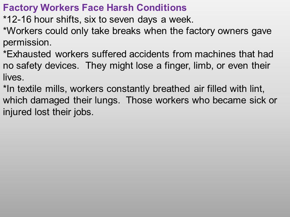 Factory Workers Face Harsh Conditions