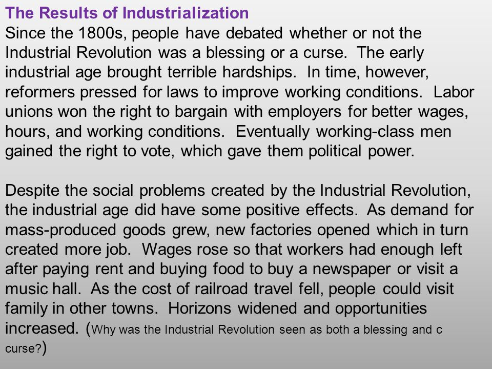 The Results of Industrialization