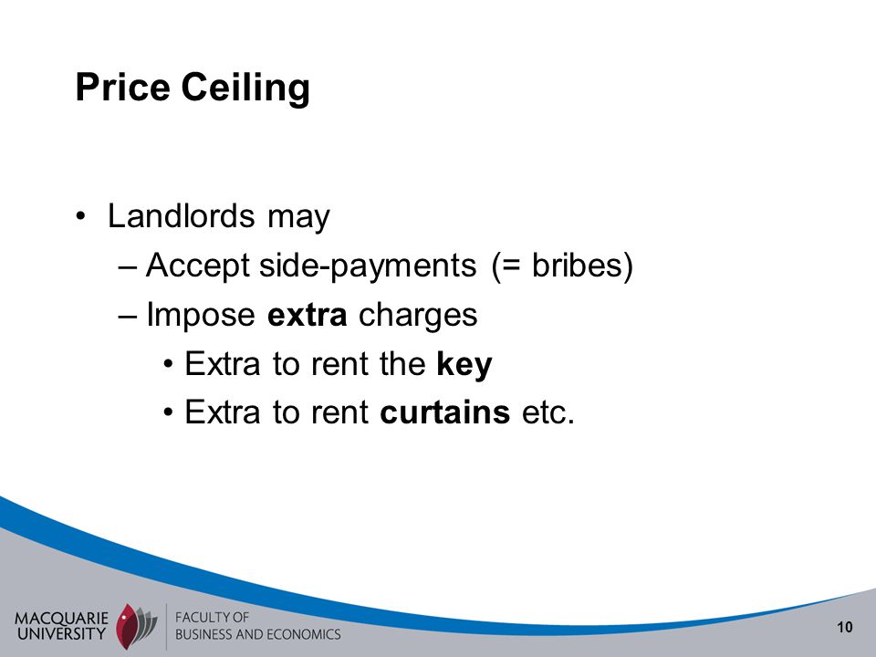 Price Ceiling Landlords may Accept side-payments (= bribes)