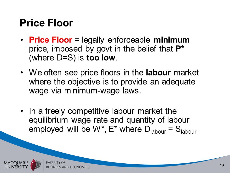 Semester 1 2010 Price Floor. Price Floor = legally enforceable minimum price, imposed by govt in the belief that P* (where D=S) is too low.