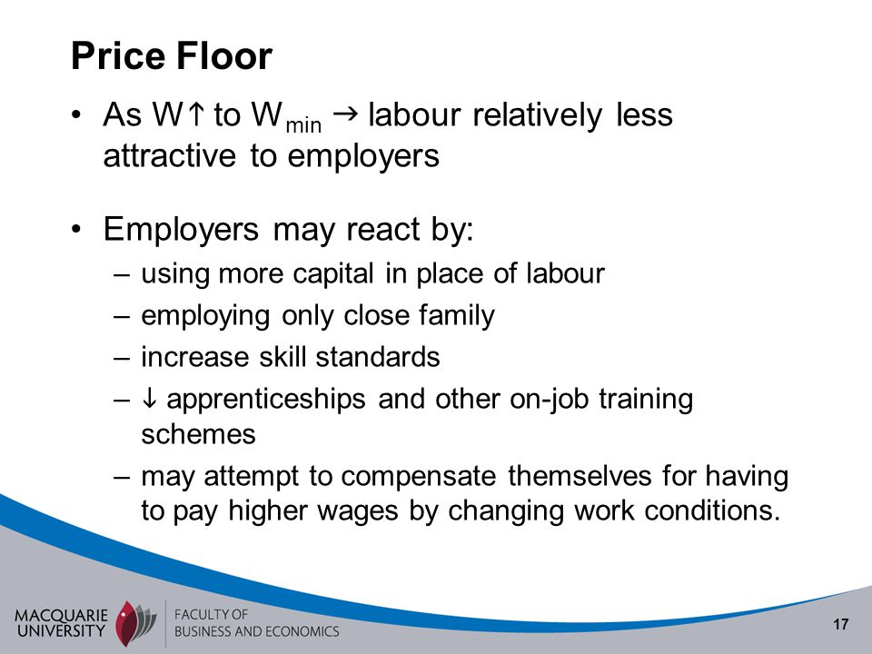 Semester 1 2010 Price Floor. As W to Wmin  labour relatively less attractive to employers. Employers may react by: