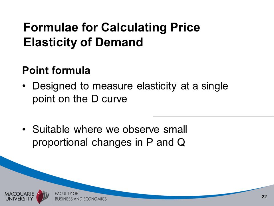 Formulae for Calculating Price Elasticity of Demand