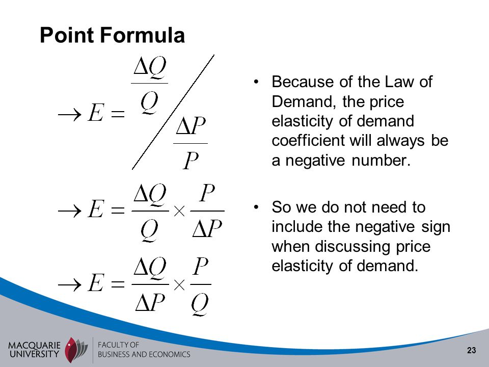 Semester 1 2010 Point Formula. Because of the Law of Demand, the price elasticity of demand coefficient will always be a negative number.