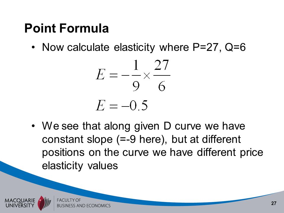 Point Formula Now calculate elasticity where P=27, Q=6