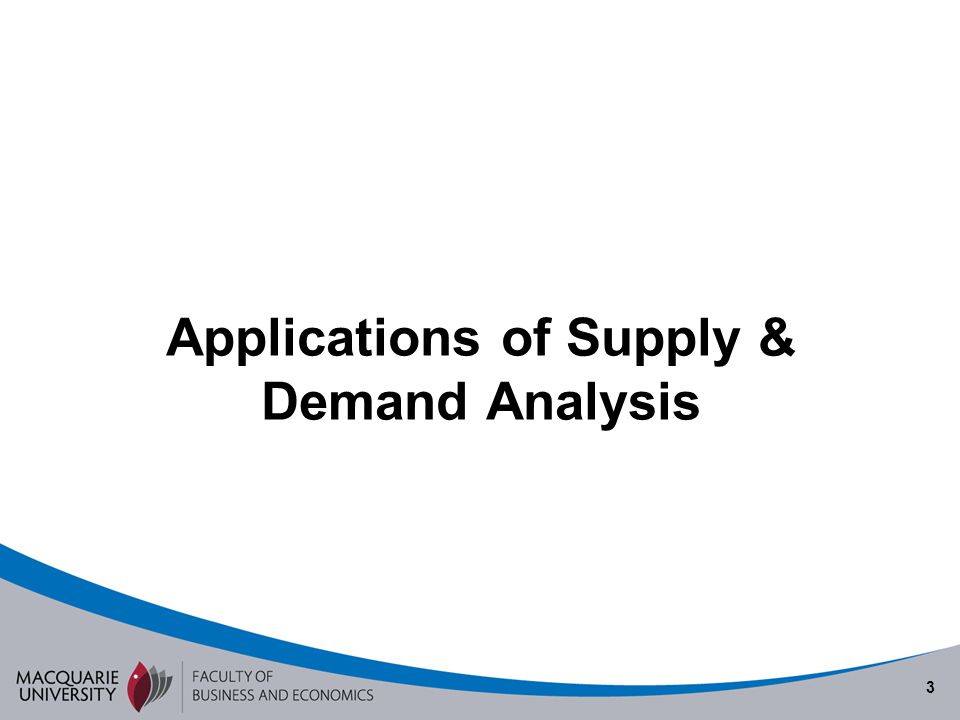 Applications of Supply & Demand Analysis