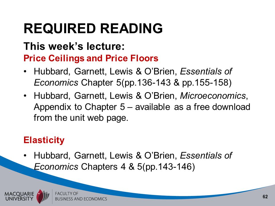 REQUIRED READING This week's lecture: Price Ceilings and Price Floors
