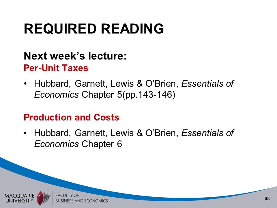 REQUIRED READING Next week's lecture: Per-Unit Taxes