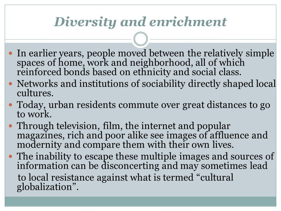 Diversity and enrichment