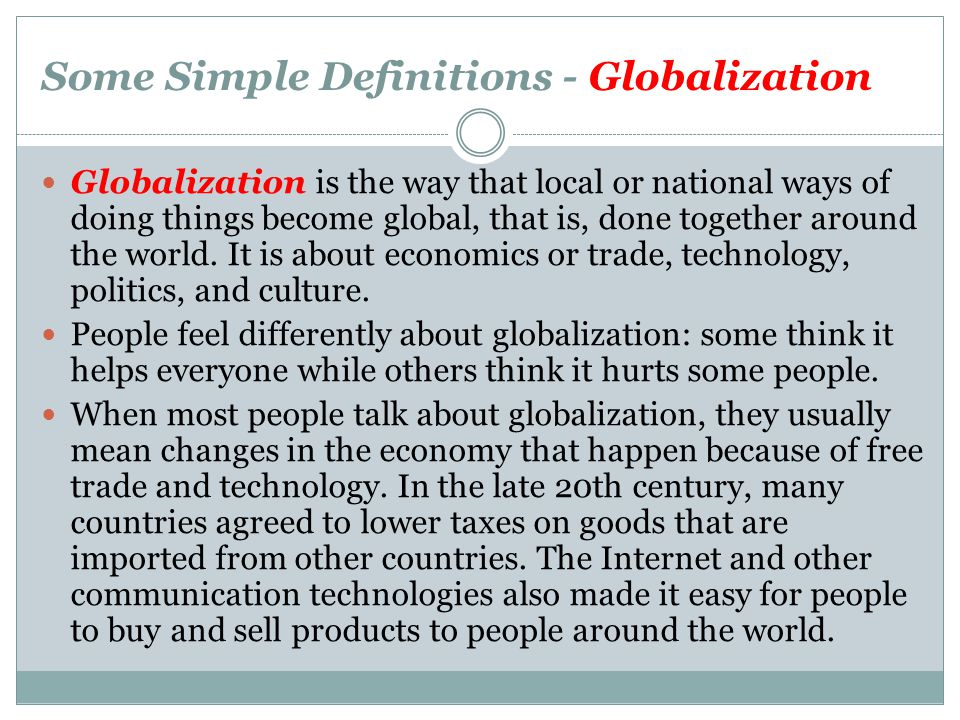 Some Simple Definitions - Globalization