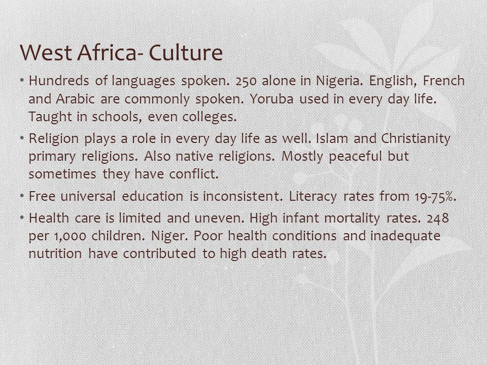 West Africa- Culture
