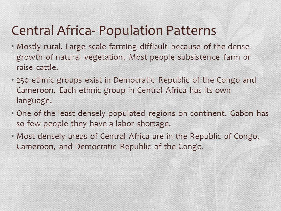 Central Africa- Population Patterns