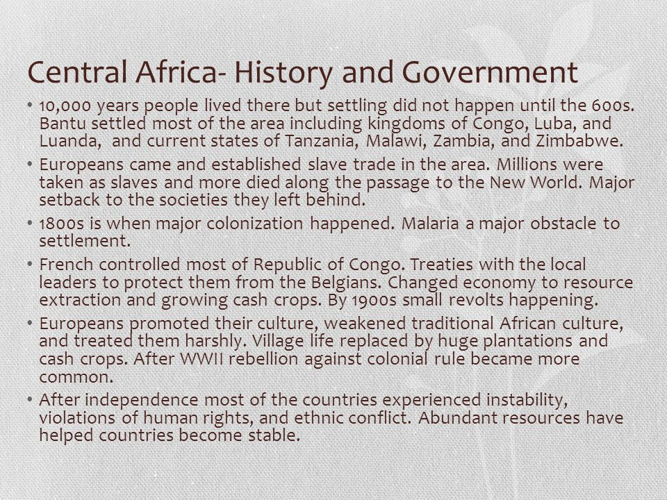 Central Africa- History and Government