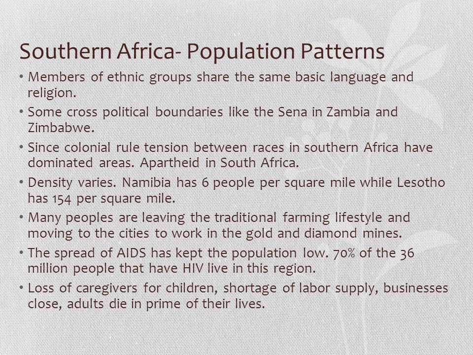 Southern Africa- Population Patterns