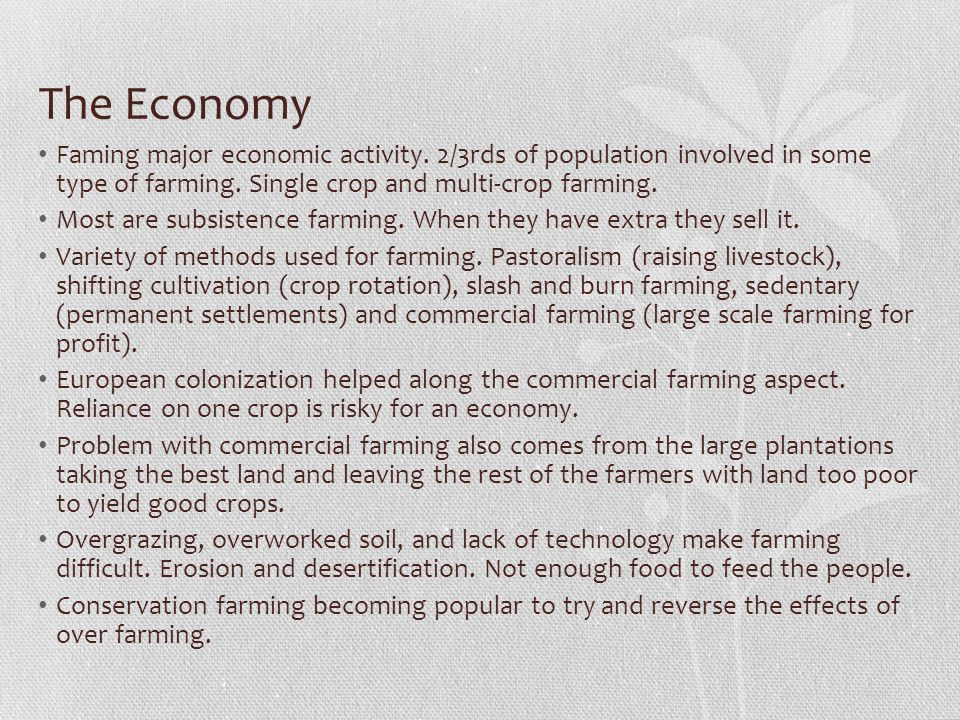 The Economy Faming major economic activity. 2/3rds of population involved in some type of farming. Single crop and multi-crop farming.